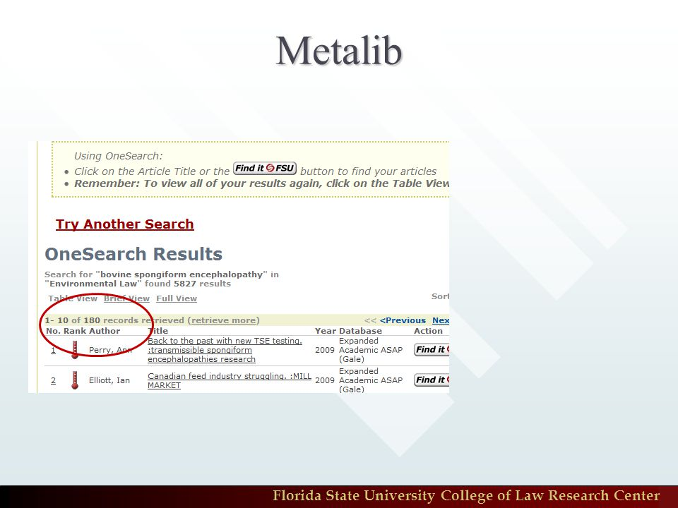 Florida State University College of Law Research Center Metalib