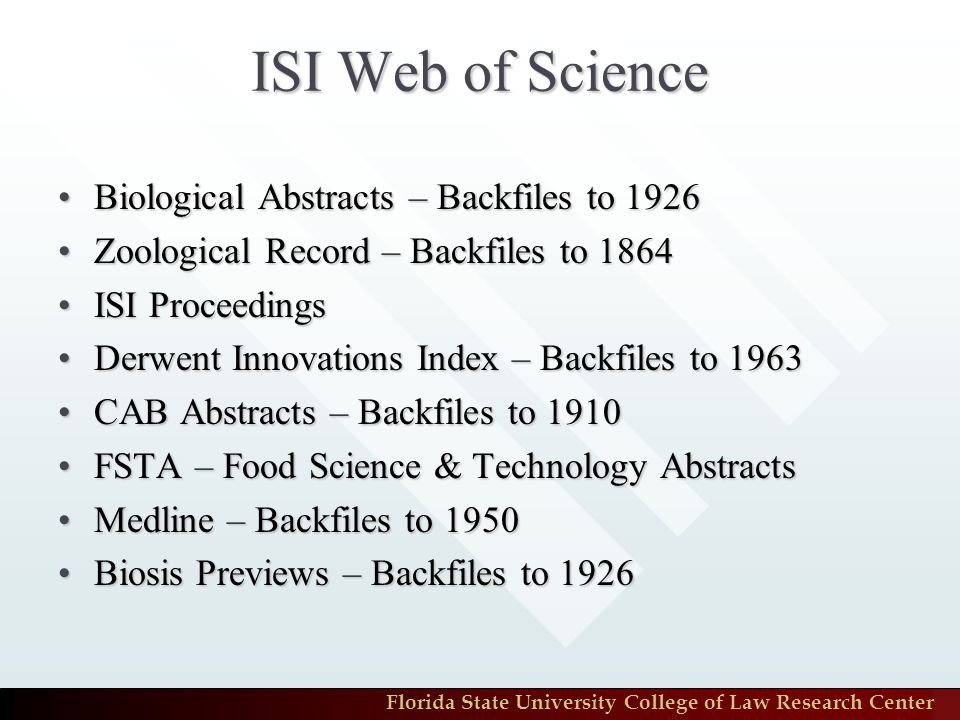 Florida State University College of Law Research Center Metalib – Environmental Law: Databases