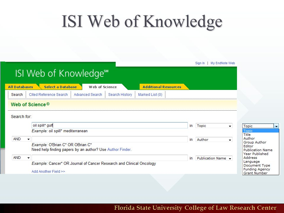 Florida State University College of Law Research Center ISI Web of Knowledge