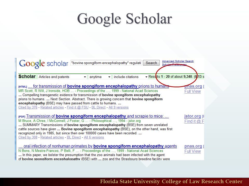 Florida State University College of Law Research Center Google Scholar