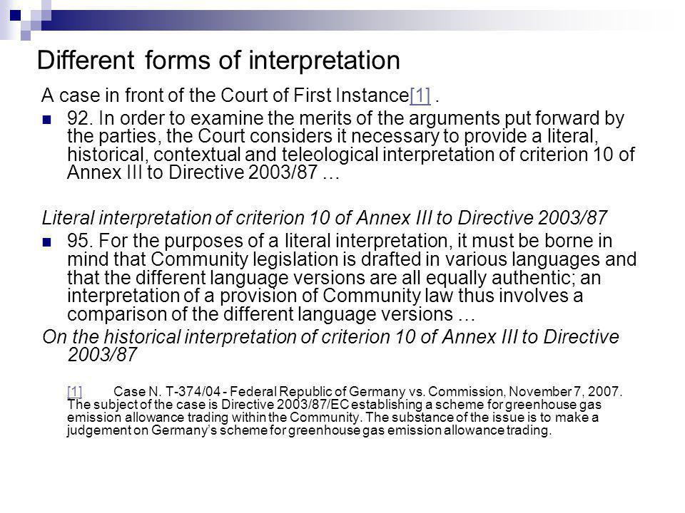 Contextual interpretation of criterion 10 of Annex III to Directive 2003/87 118.