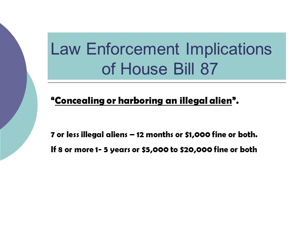 Law Enforcement Implications of House Bill 87 Concealing or harboring an illegal alien.