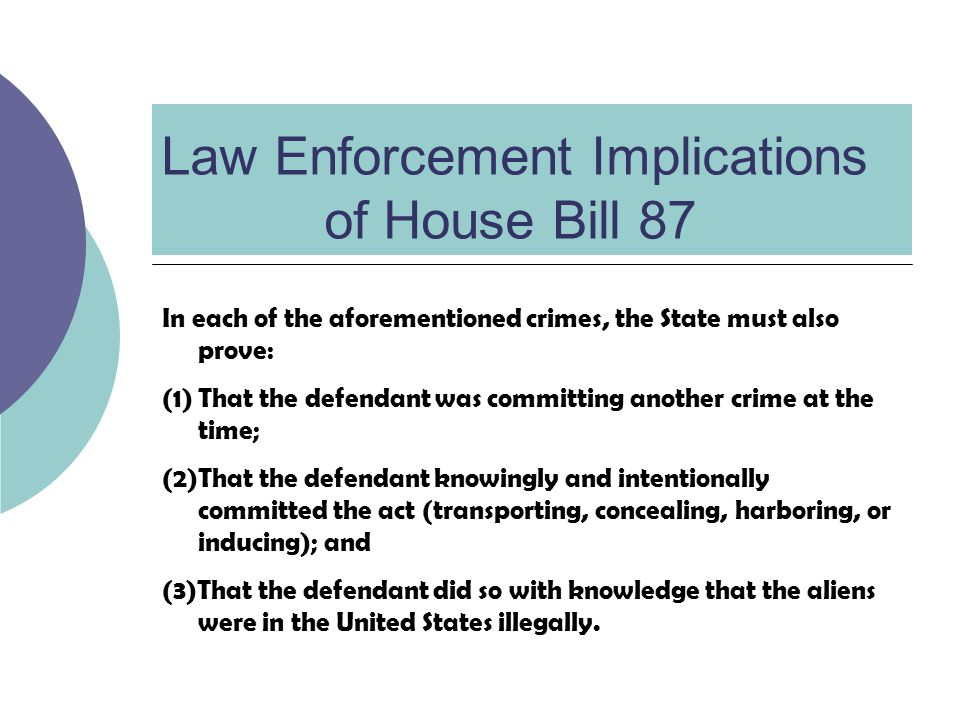 Law Enforcement Implications of House Bill 87 In each of the aforementioned crimes, the State must also prove: (1)That the defendant was committing another crime at the time; (2)That the defendant knowingly and intentionally committed the act (transporting, concealing, harboring, or inducing); and (3)That the defendant did so with knowledge that the aliens were in the United States illegally.