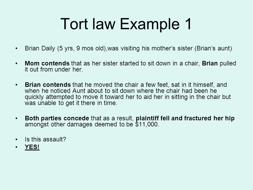 Tort law Example 1 Brian Daily (5 yrs, 9 mos old),was visiting his mothers sister (Brians aunt) Mom contends that as her sister started to sit down in a chair, Brian pulled it out from under her.