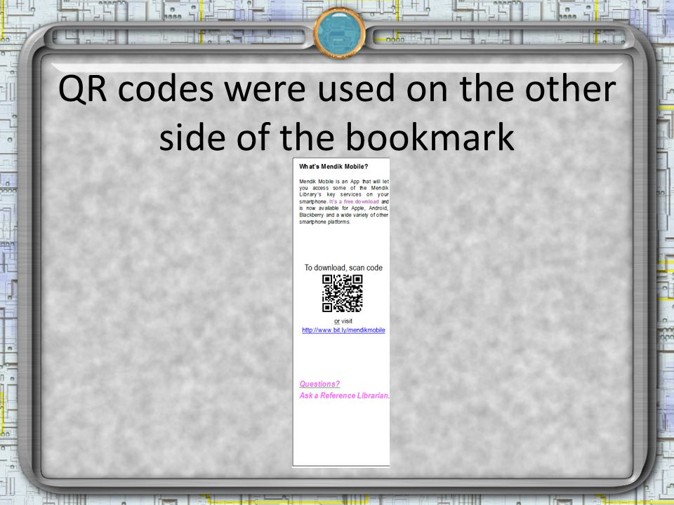 QR codes were used on the other side of the bookmark