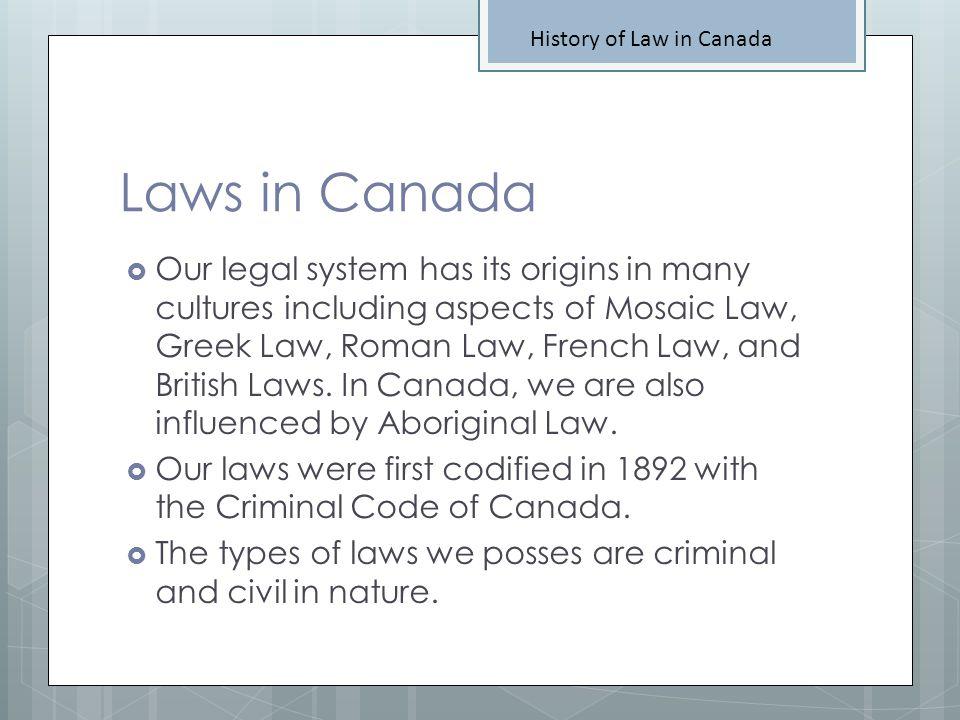 Aboriginal Law History of Law in Canada When Codified.