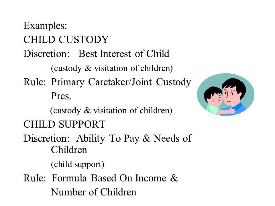 Examples: CHILD CUSTODY Discretion:Best Interest of Child (custody & visitation of children) Rule:Primary Caretaker/Joint Custody Pres.
