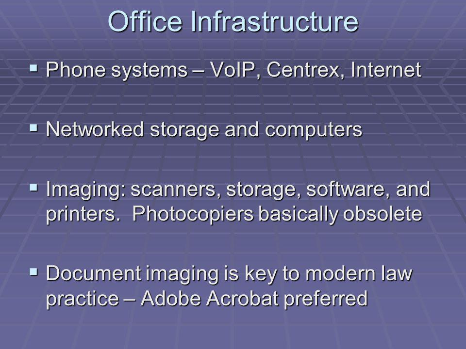 Office Infrastructure Phone systems – VoIP, Centrex, Internet Phone systems – VoIP, Centrex, Internet Networked storage and computers Networked storage and computers Imaging: scanners, storage, software, and printers.