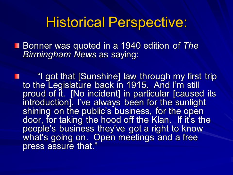 Historical Perspective: Bonner later admitted that the biggest mistake he made during the legislative process was to compromise and agree to the character and good name exception.