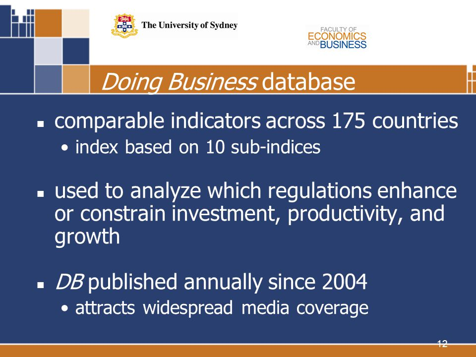 12 Doing Business database comparable indicators across 175 countries index based on 10 sub-indices used to analyze which regulations enhance or constrain investment, productivity, and growth DB published annually since 2004 attracts widespread media coverage