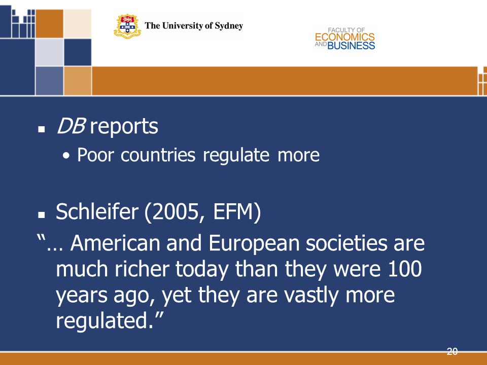 20 DB reports Poor countries regulate more Schleifer (2005, EFM) … American and European societies are much richer today than they were 100 years ago, yet they are vastly more regulated.