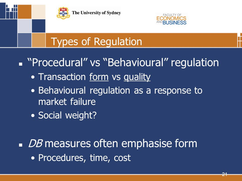 21 Types of Regulation Procedural vs Behavioural regulation Transaction form vs quality Behavioural regulation as a response to market failure Social weight.