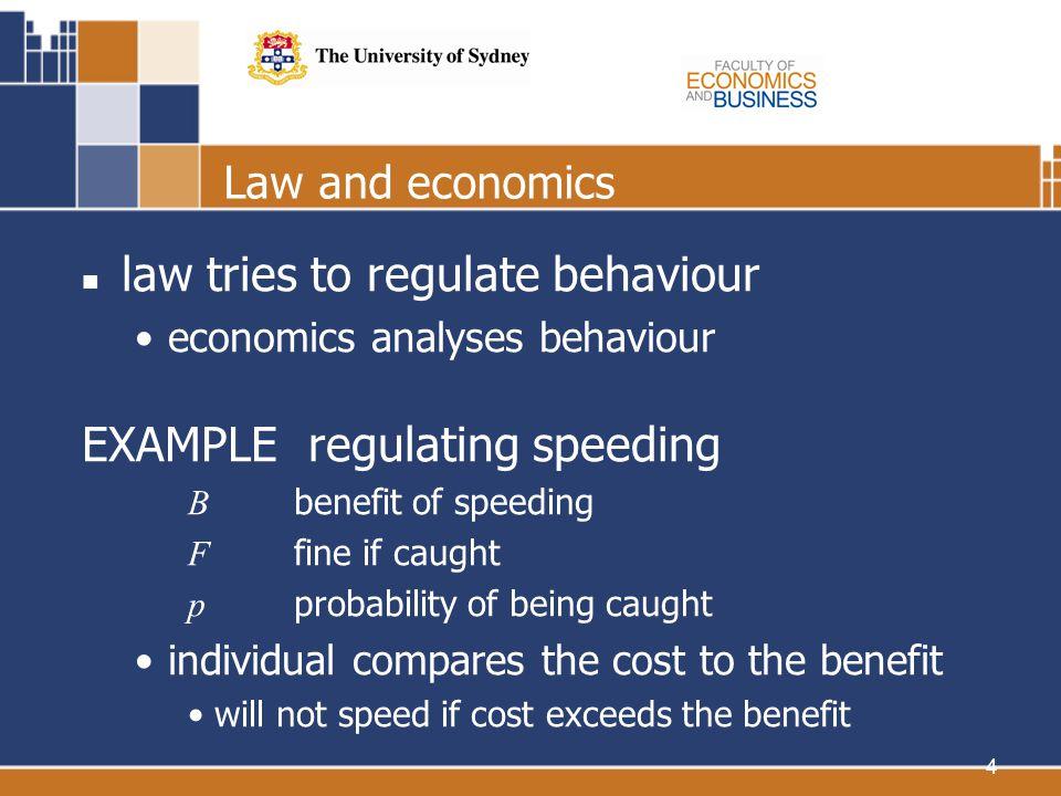 4 Law and economics law tries to regulate behaviour economics analyses behaviour EXAMPLE regulating speeding B benefit of speeding F fine if caught p