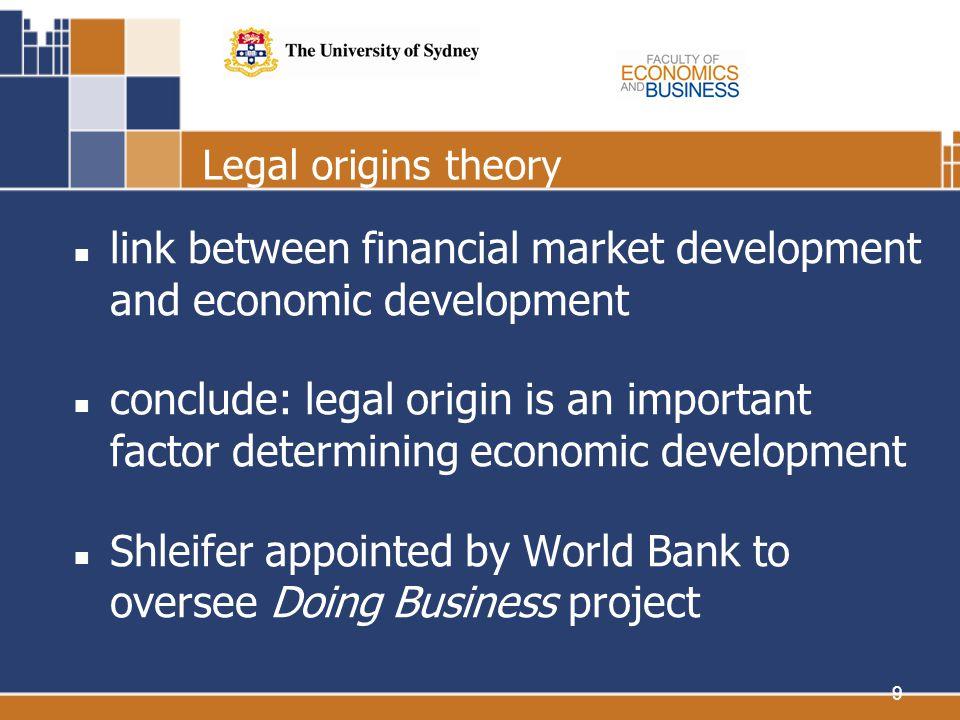 9 Legal origins theory link between financial market development and economic development conclude: legal origin is an important factor determining ec