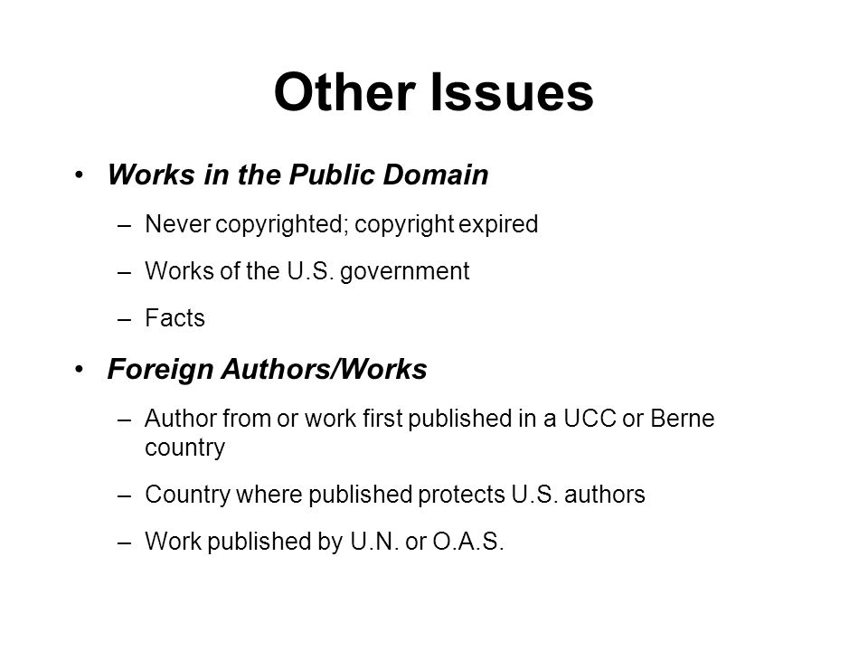 Other Issues Works in the Public Domain –Never copyrighted; copyright expired –Works of the U.S.