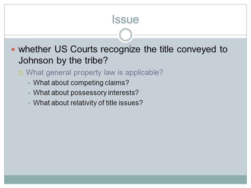 Issue whether US Courts recognize the title conveyed to Johnson by the tribe.
