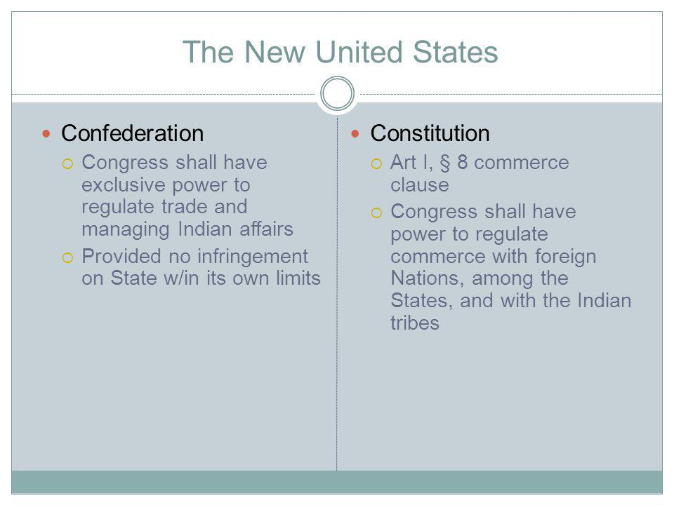 The New United States Confederation Congress shall have exclusive power to regulate trade and managing Indian affairs Provided no infringement on State w/in its own limits Constitution Art I, § 8 commerce clause Congress shall have power to regulate commerce with foreign Nations, among the States, and with the Indian tribes