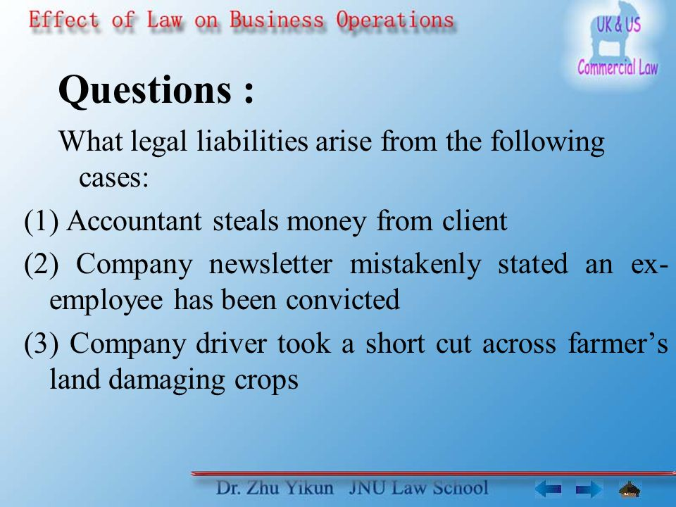 Questions : What legal liabilities arise from the following cases: (1) Accountant steals money from client (2) Company newsletter mistakenly stated an ex- employee has been convicted (3) Company driver took a short cut across farmers land damaging crops