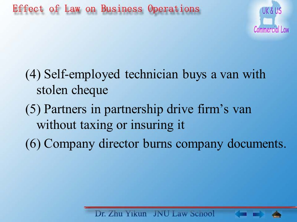(4) Self-employed technician buys a van with stolen cheque (5) Partners in partnership drive firms van without taxing or insuring it (6) Company director burns company documents.