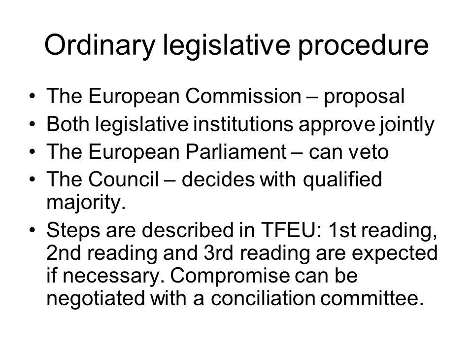 Ordinary legislative procedure The European Commission – proposal Both legislative institutions approve jointly The European Parliament – can veto The