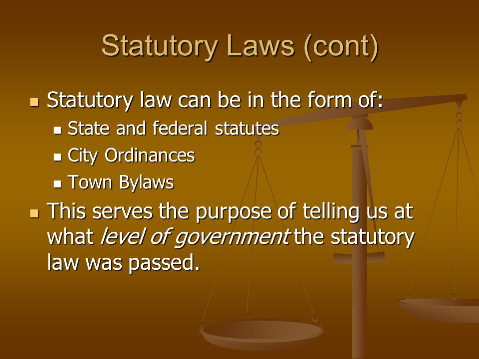 Statutory Laws (cont) Statutory law can be in the form of: Statutory law can be in the form of: State and federal statutes State and federal statutes