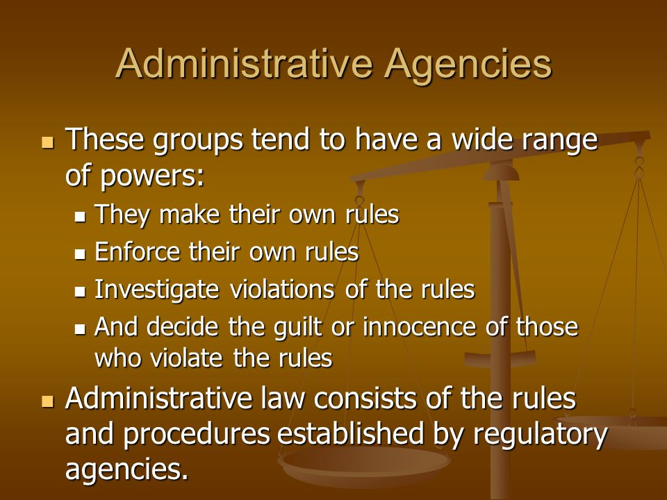 Administrative Agencies These groups tend to have a wide range of powers: These groups tend to have a wide range of powers: They make their own rules
