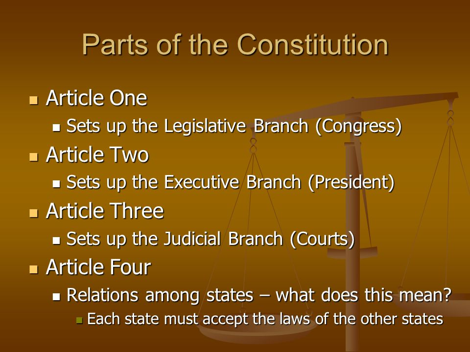 Parts of the Constitution Article One Article One Sets up the Legislative Branch (Congress) Sets up the Legislative Branch (Congress) Article Two Arti