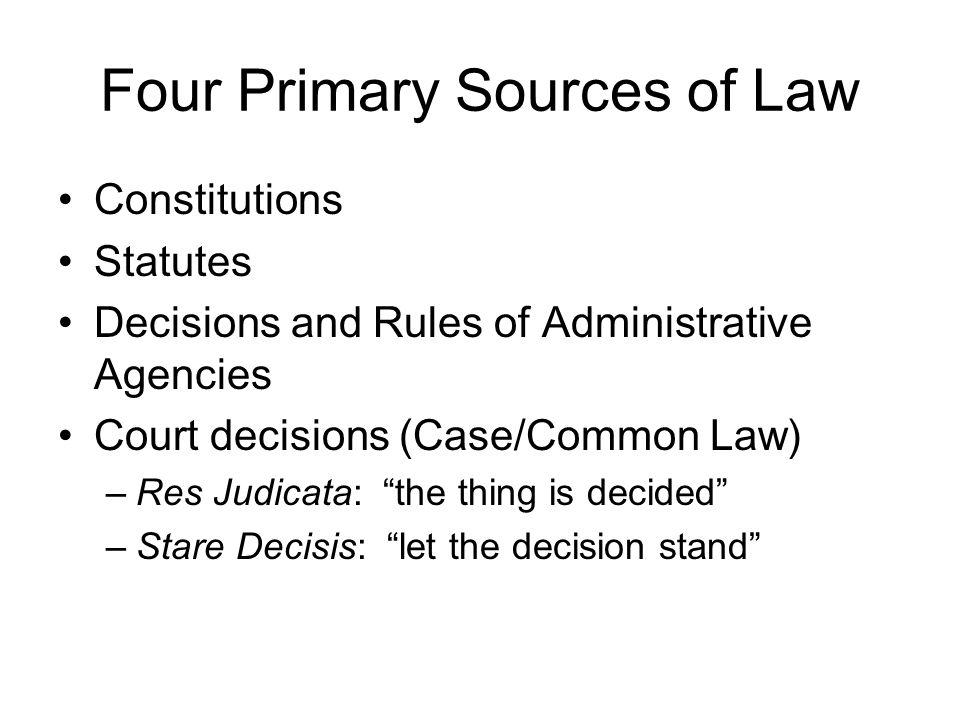Sources of Law Module One Spring 2006