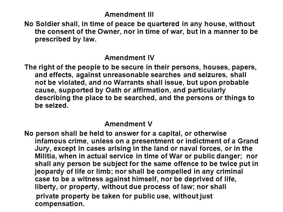 THE FIRST 10 AMENDMENTS The Bill of Rights Amendment I Congress shall make no law respecting an establishment of religion, or prohibiting the free exercise thereof; or abridging the freedom of speech, or of the press; or the right of the people peaceably to assemble, and to petition the Government for a redress of grievances.