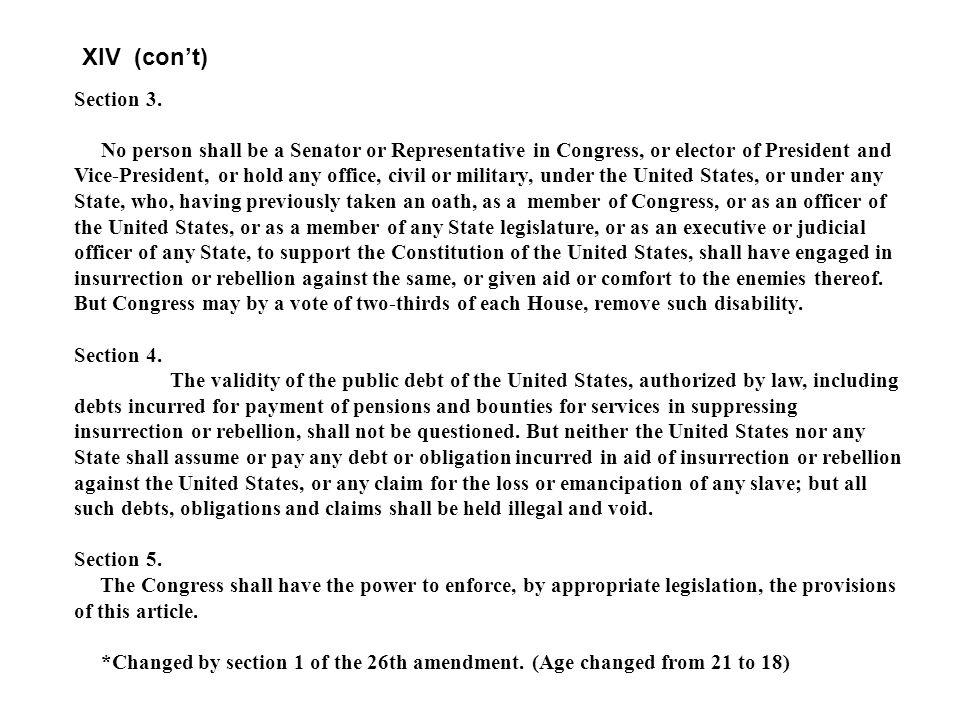 AMENDMENT XIV Passed by Congress June 13, Ratified July 9,