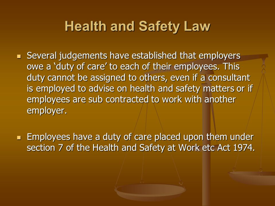 Health and Safety Law Several judgements have established that employers owe a duty of care to each of their employees.