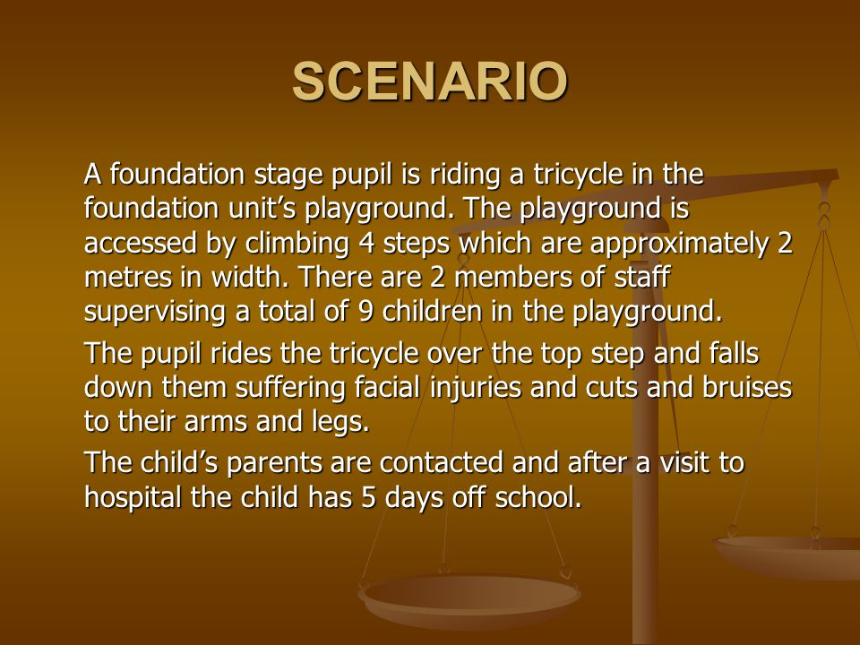 SCENARIO A foundation stage pupil is riding a tricycle in the foundation units playground.