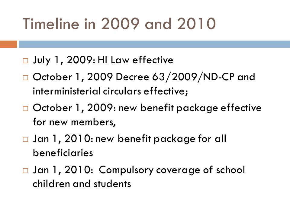 Timeline in 2009 and 2010 July 1, 2009: HI Law effective October 1, 2009 Decree 63/2009/ND-CP and interministerial circulars effective; October 1, 2009: new benefit package effective for new members, Jan 1, 2010: new benefit package for all beneficiaries Jan 1, 2010: Compulsory coverage of school children and students