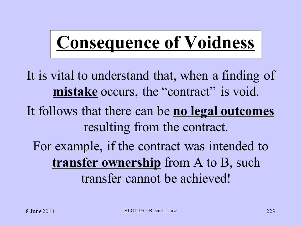 8 June 2014 BLO1105 – Business Law 229 Consequence of Voidness It is vital to understand that, when a finding of mistake occurs, the contract is void.