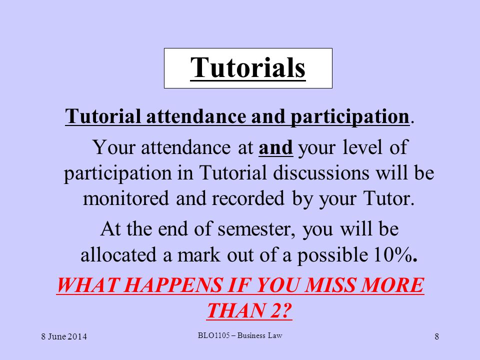 8 June 2014 BLO1105 – Business Law 9 Assignment You are required to submit during your scheduled tutorial in the week commencing Monday 27 th April, 2009 a written assignment or research essay of 2,000 – 2,500 words on the topic in the Student manual for Semester 1, p.