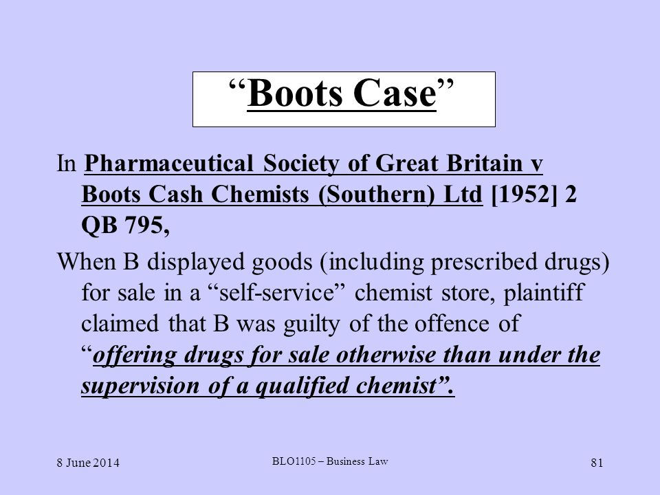 8 June 2014 BLO1105 – Business Law 81 Boots Case In Pharmaceutical Society of Great Britain v Boots Cash Chemists (Southern) Ltd [1952] 2 QB 795, When