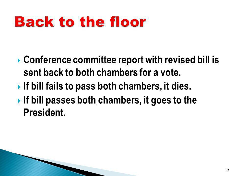 Conference committee report with revised bill is sent back to both chambers for a vote.