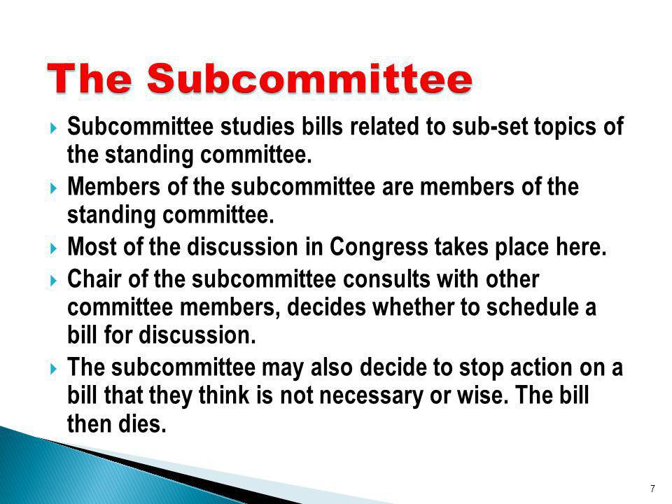 Subcommittee studies bills related to sub-set topics of the standing committee.