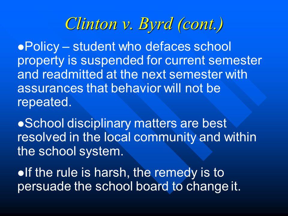 Clinton v. Byrd, 477 So.2d 237 (Miss. 1985).