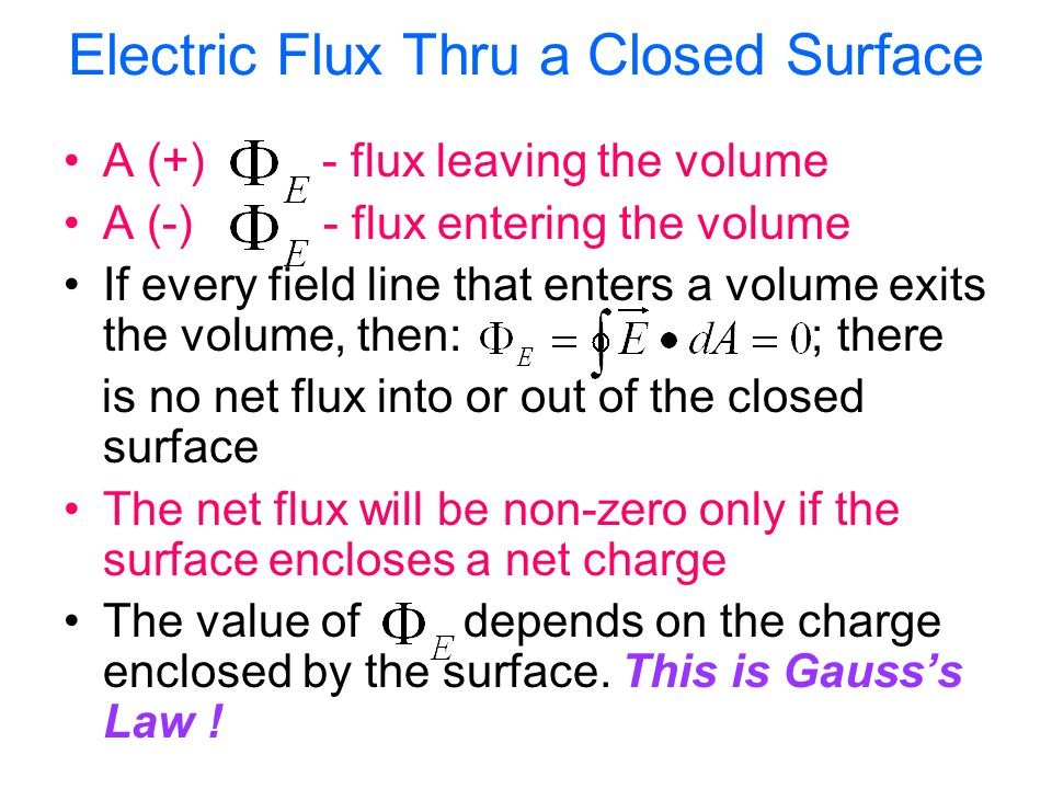 Electric Flux Thru a Closed Surface A (+) - flux leaving the volume A (-) - flux entering the volume If every field line that enters a volume exits th