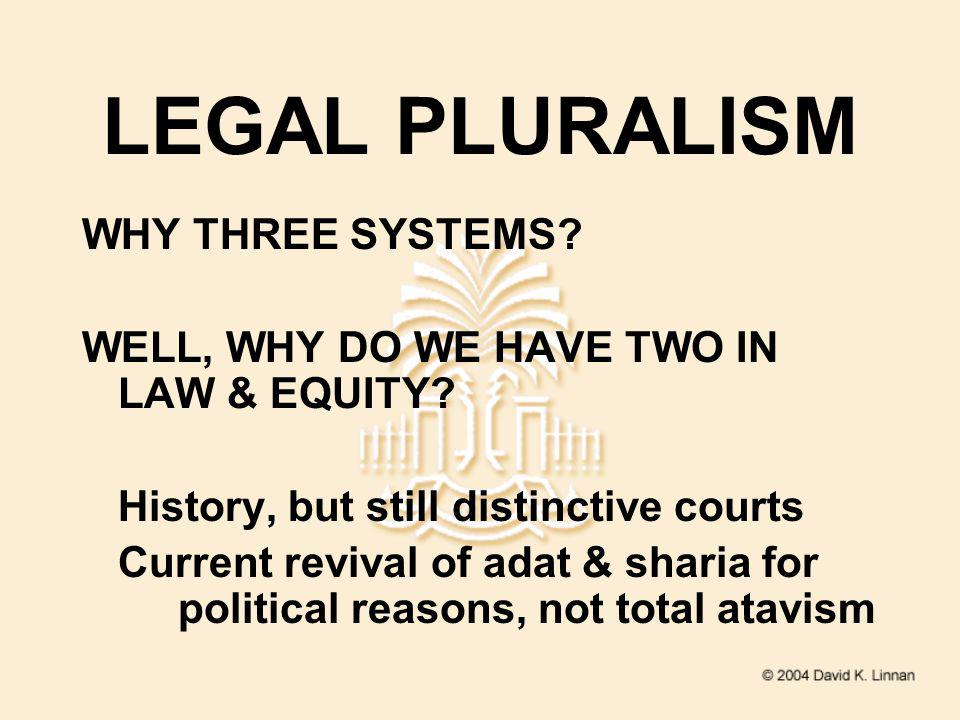 LEGAL PLURALISM WHY THREE SYSTEMS. WELL, WHY DO WE HAVE TWO IN LAW & EQUITY.