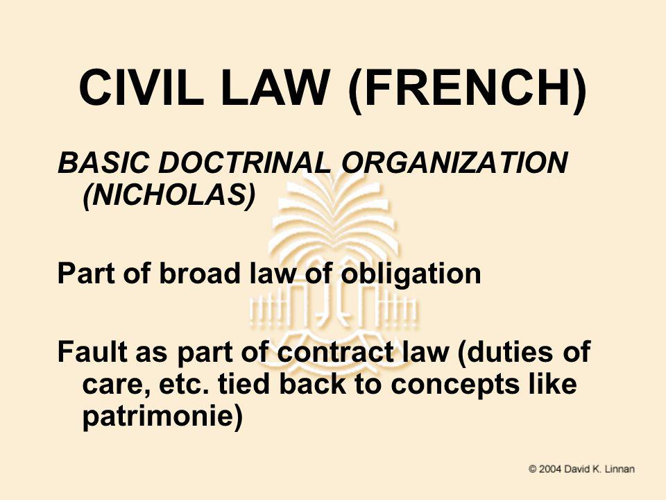 CIVIL LAW (FRENCH) BASIC DOCTRINAL ORGANIZATION (NICHOLAS) Part of broad law of obligation Fault as part of contract law (duties of care, etc.