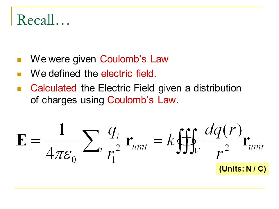 Recall… We were given Coulombs Law We defined the electric field. Calculated the Electric Field given a distribution of charges using Coulombs Law. (U