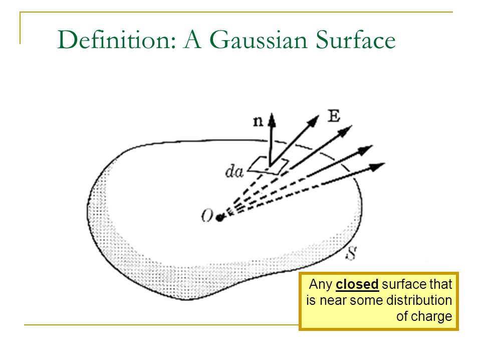 Definition: A Gaussian Surface Any closed surface that is near some distribution of charge