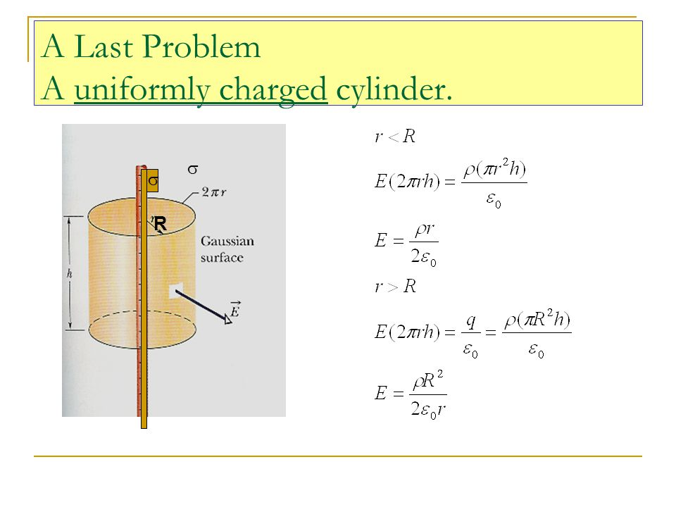 A Last Problem A uniformly charged cylinder. R