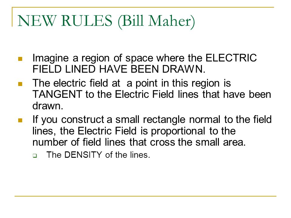 NEW RULES (Bill Maher) Imagine a region of space where the ELECTRIC FIELD LINED HAVE BEEN DRAWN. The electric field at a point in this region is TANGE