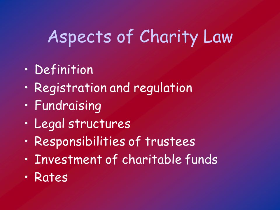 Proposals on registration and regulation Creation of independent statutory office, the Registrar of Charities, to be supported by an Advisory Board, together to be known as the Charities Office Through creation of a register of charities, the Charities Office to fulfil the dual role of registration and regulation