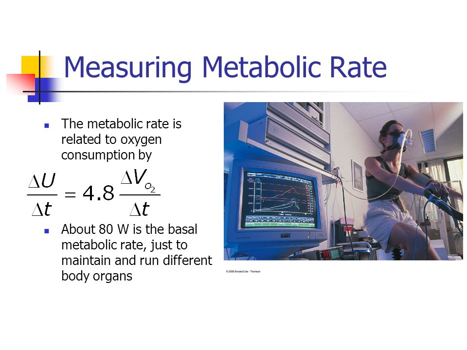 Measuring Metabolic Rate The metabolic rate is related to oxygen consumption by About 80 W is the basal metabolic rate, just to maintain and run different body organs