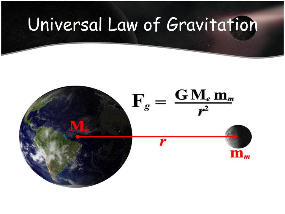 F = force of gravity M 1 = mass of one object m 2 = mass of other object d = distance between the centers of the masses G = universal gravitational constant