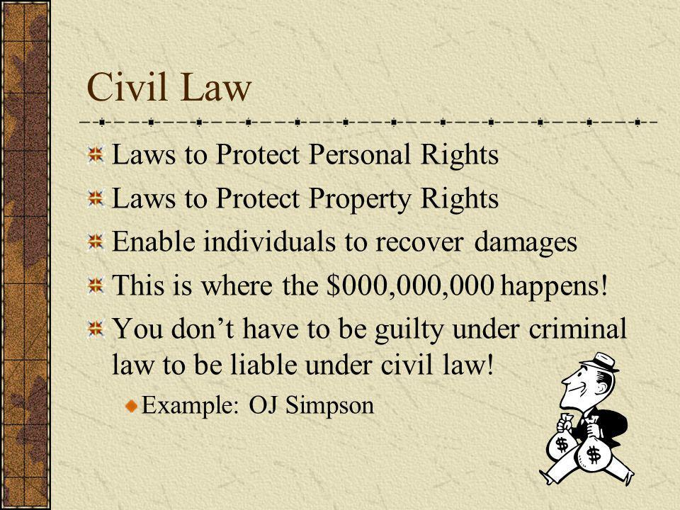 Civil Law Laws to Protect Personal Rights Laws to Protect Property Rights Enable individuals to recover damages This is where the $000,000,000 happens